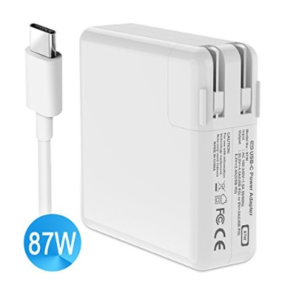 USB C 電源アダプタ 87W Macbook ACアダプタ PD (Power delivery) 対応 20.2V/4.3A 急速充電 折畳式 2m USB C to USB Cケーブル付き...