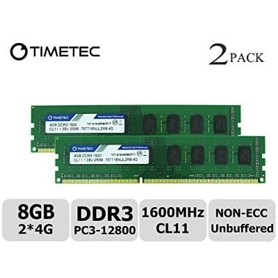 Timetec Hynix IC 8GB キット (2x4GB) デスクトップPC用メモリ DDR3L 1600 MHz PC3L 12800 1.35V/1.5V 2Rx8 240 Pin...