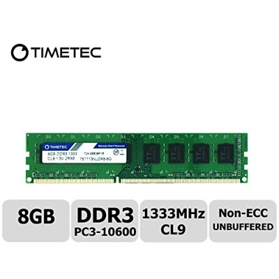 Timetec Hynix IC 8 GB デスクトップPC用メモリ DDR3 1333 MHz PC3 10600 240 Pin UDIMM 永久保証 (8 GB)