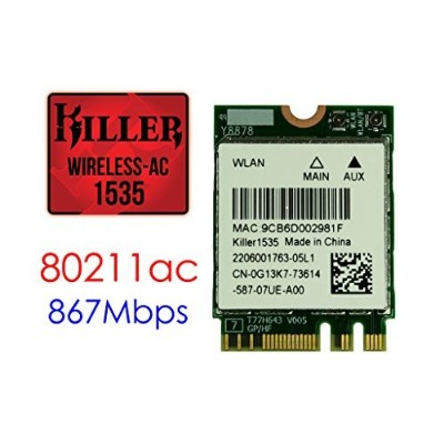ゲーマー向け無線LANカード Killer Wireless-AC 1535 QCNFA364A 802.11AC 867Mbps 2x2 WLAN + Bluetooth4.1 M.2 NGFF...