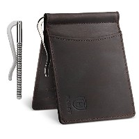 [Harby]クレイジーホースレザーマネークリップ二つ折り財布本革 Crazy horse leather wallet with Money Clip (ダークブラウン)