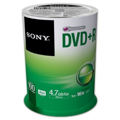 SONY 100 X DVD+R 4.7GB SPINDLE 120MIN
