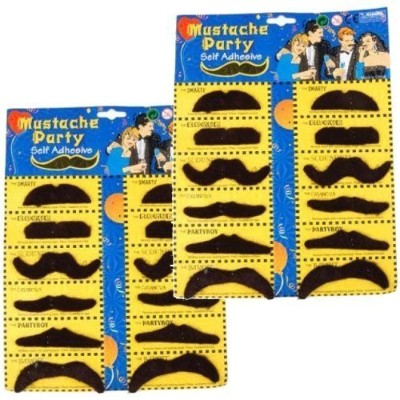 2 Self Adhesive Set 12 Fake Mustaches Costume Party Disguise for Masquerade Party & Performance by...