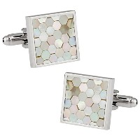 Cuff - Daddy Mother of Pearl Honeycomb Cufflinks withプレゼンテーションボックス