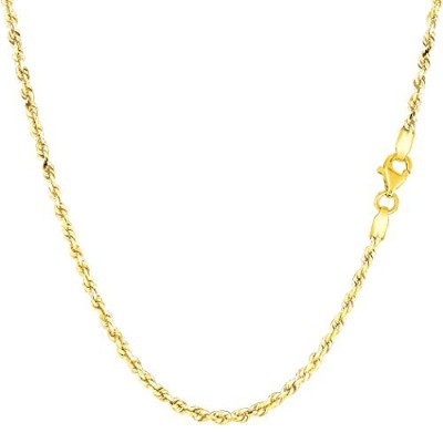 14k Yellow Gold Solid Diamond Cut Royal Rope Chain Necklace, 2.0mm, 16""