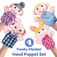 """Hand Puppet Set - 4 Family Member - Premium Quality, Big 14"""" Inch Soft Plush Hand Puppets For Kids ..."""
