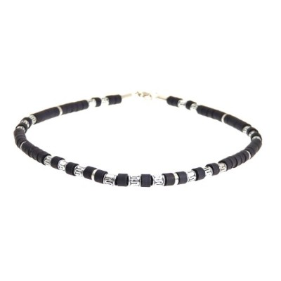 (Style A) - Surf Surfer Black & Silver Colour Bead Beads Necklace Choker - A