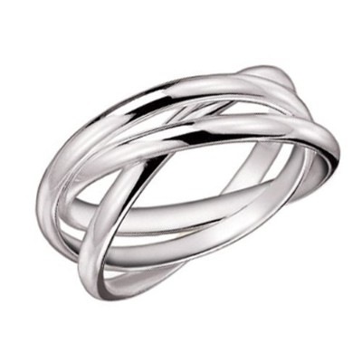 (7) - MIMI 925 Sterling Silver 3 Triple Band Rolling Russian Wedding Ring