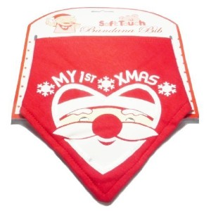 My First Xmas Bandana Bib with Santa Face by Soft Touch [並行輸入品]