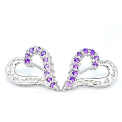 Always & Forever Engraving Amethyst Heart Stud Earrings .925 Sterling Silver Rhodium Finish