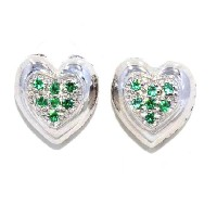 Simulated Emerald Always & Forever Engraving Heart Stud Earrings .925 Sterling Silver Rhodium Finish