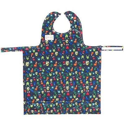 BIB-ON, A New, Full-Coverage Bib and Apron Combination for Infant, Baby, Toddler Ages 0-4+. New BIB-ON with NECK SNAP Buttons! (Silly Alien Critters) by BIB-ON