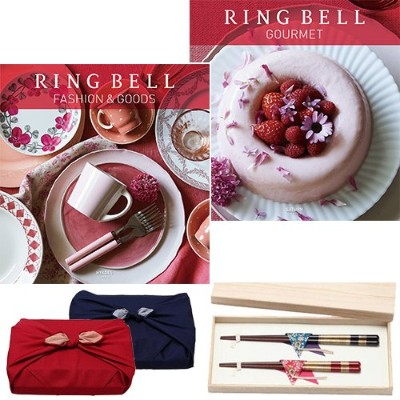 CONCENT リンベル RING BELL カタログギフト ヒアデス&サターン+箸二膳(桜草) ※風呂敷:赤色