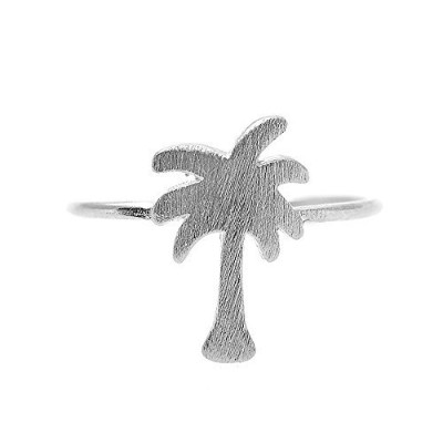 Spinningdaisy手作りBrushed Metal Cut Out Palm Treeリング