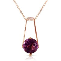 "K14 Rose Gold 18"" Natural Amethyst Pendant Necklace"