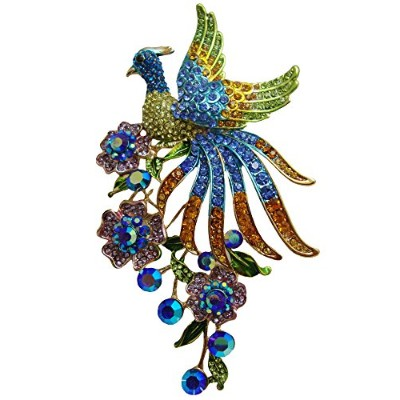 TTjewelry Fashion Colorful Peacock Brooch Pin with Flower Austrian Crystal Pendant