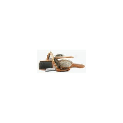 Bass Brushes Large Slicker Style Pet Brush with Bamboo Wood Handle and Rubber Grips by Bass Brushes