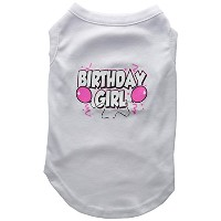 Mirage Pet Products 51-06 LGWT Birthday Girl Screen Print Shirts White Lg - 14
