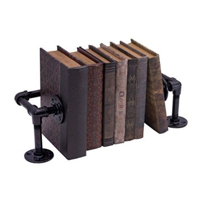Pipe Decor 38BKCRL-BK Rustic and chic Industrial Book/DVD Stand Complete Set Electroplated Black...