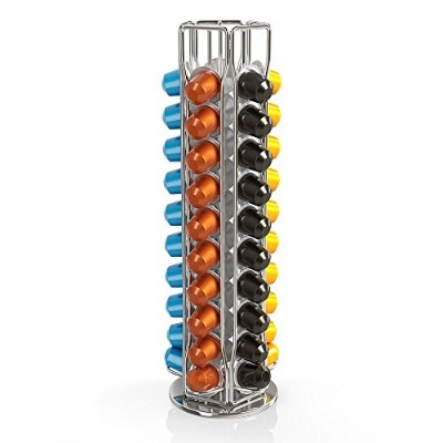 BluePeak Nespresso Coffee Capsule Rack Holder Carousel - Holds 50 Capsules. Elegant and Modern Chrome Finish. 360-degree Rotation.