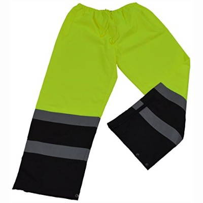Petra Roc LBPP-CE-5X Rain Pants ANSI-ISEA 107-2004 Class E Waterproof Drawstring44; Lime & Black -...