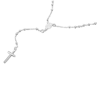 (26.0 inches) - Sterling Silver Rosary Necklaces 3mm Bead Plain Cross Rosary Chain (18 30 Inches)
