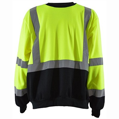 Petra Roc LBCSW-C3-S Sweatshirt Crew Neck Two Tone Ansi Class 344; Lime & Black - Small