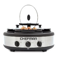 Chefman RJ15-15-TO Oval Crock Round Triple Slow Cooker with Individual Heat Control & Lid-Lock...