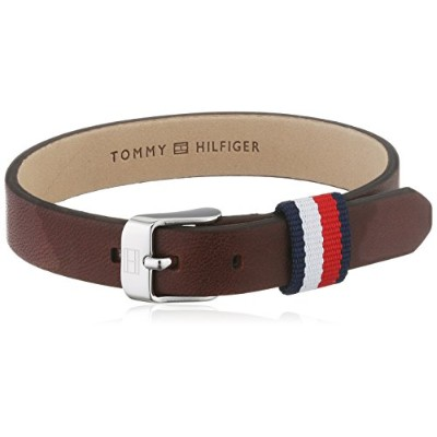 男性用ブレスレットTommy Hilfiger Men's Brown Leather Mini-Belt Bracelet[並行輸入品]