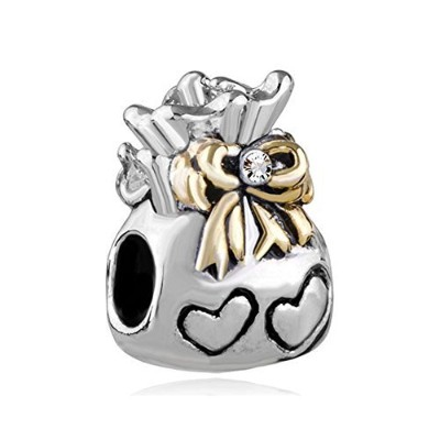 queencharms LoveチャームAバッグof Love with Hearts with Golden蝶結びのブレスレット