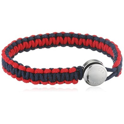 男性用ブレスレットTommy Hilfiger Men's Coated Cord Navy and Red Machrame Bracelet with HILFIGER Etched...