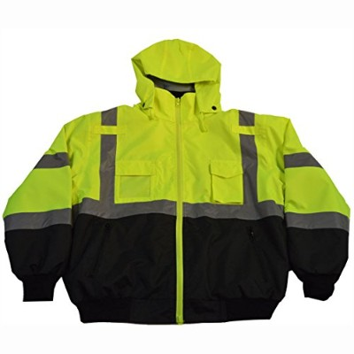 Petra Roc LBBJ-C3-L Jacket Lime & Black ANSI-ISEA & EN471 Class 3 Waterproof Bomber with Removable...