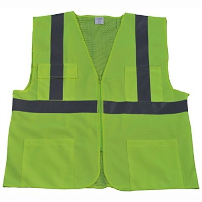 Petra Roc LV2-FSMB-2X-3X Safety Vest ANSI Class 2 Front Solid Mesh Back44; Lime - 2X & 3X
