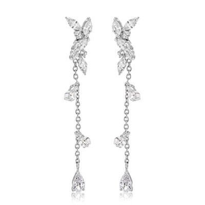 イヤリングTuscany Silver Sterling Silver Rhodium Plated White Cubic Zirconia Jacket Earrings3.7[並行輸入品]