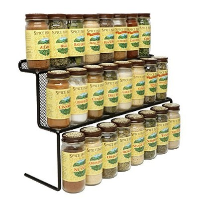 KitchenEdge 2-Tier Elevated Spice Rack Storage Organiser, Holds 16 Spice Jars and Bottles, Width...