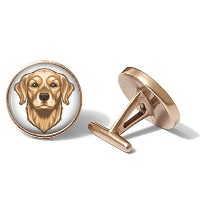 Golden Retriever Dog Cufflinks (ソリッドブロンズ)
