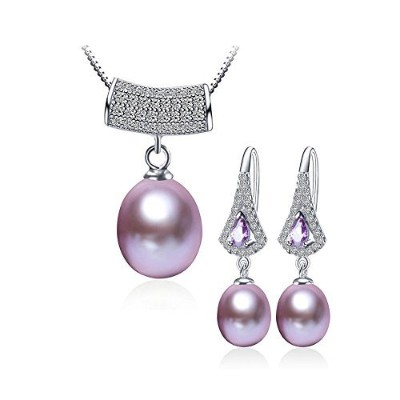 xeyjewelry Alchemist Fresh Water Cultured Pearl Mysteriousラインストーンネックレスペンダントとイヤリングセット、パープル