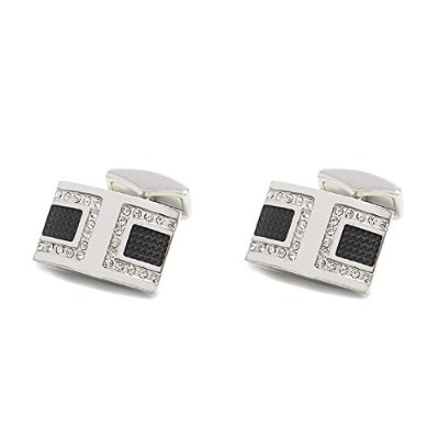 メンズカフスP.D.Man England Rectangular Black Enamel and Crystal Cufflink[並行輸入品]