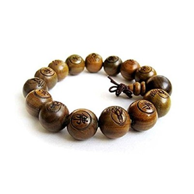 DMtse Traditional Tibetan Buddhist Green Sandalwood Beads Bracelet Prayer Mala Bracelet for the...