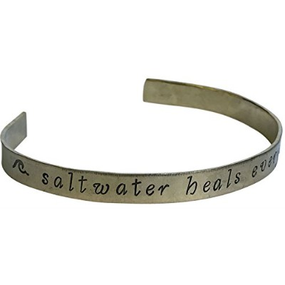 Saltwater Heals Everything StampedブレスレットBrass Cuff Salt Life釣りビーチSeawater Boating、ビーチ