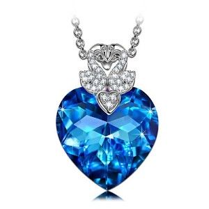 """ladycolour """" If the Heart Splendor """"ブルーハートペンダントネックレスwithバタフライ/白鳥、Made with Swarovski Crystals ブルー"""
