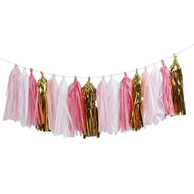 ZOOYOO 20 pcs DIY Kits Tissue Paper Tassels, Tassel Garland Banner for Event & Party Supplies,(Pink...