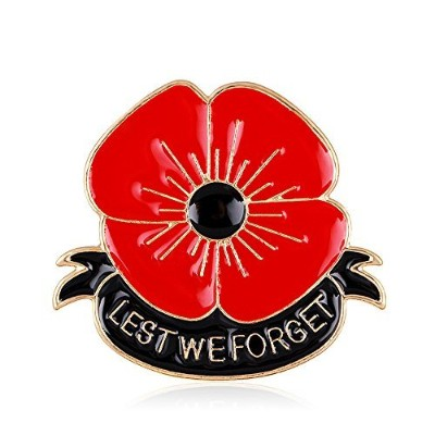 Lest We Forget Poppy Brooch Pin Flower Broach Memorial Day Remembrance Day