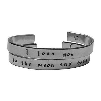 I Love You To The Moon And Backブレスレットセット–1/ 4インチHand Stampedアルミニウムブレスレットセット- - - - - - -
