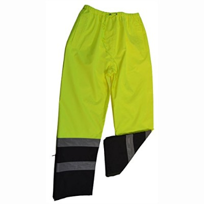 Petra Roc LBPP-CE-S Rain Pants ANSI-ISEA 107-2004 Class E Waterproof Drawstring, Lime & Black -...