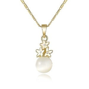 kedrian Simulated Pearl with Flower Bouquetネックレス–Dainty Everydayネックレスの女性 ゴールド