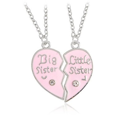 ChoaピンクBig/Little Sister Loveハートペンダントネックレスfor Sistersギフト