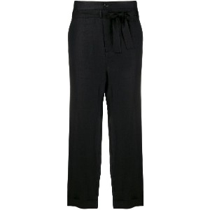 Reality Studio belted waist cropped trousers - ブラック