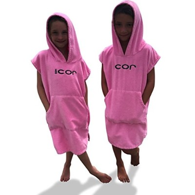 (Pink) - COR Childrens Unisex Poncho Towel Robe Light and Dark Blue, Pink and Green for Ages 3-10 ...