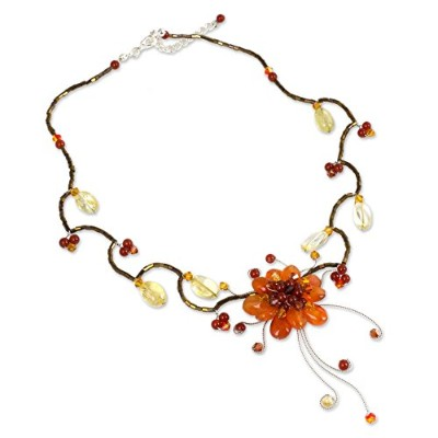"""Novica 17.0"""" Beaded Choker with Citrine and Dyed玉髄onステンレススチール、' Fire Flower '"""